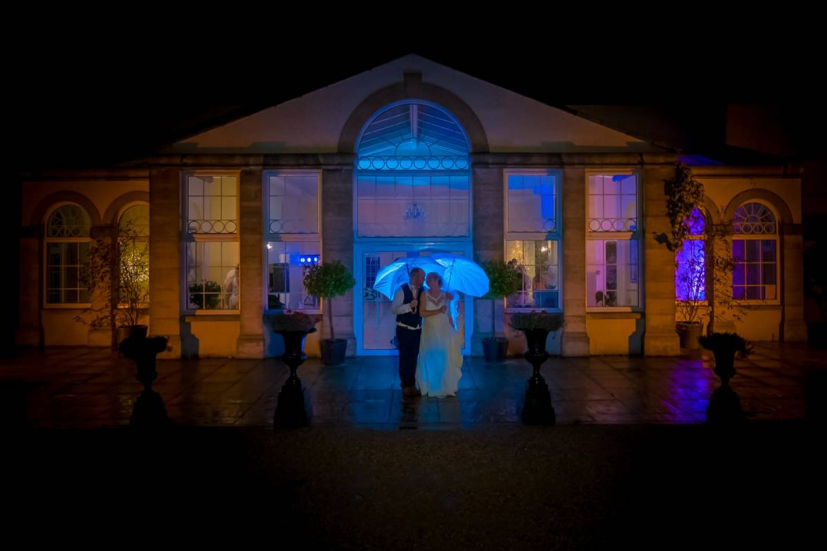 YFFUK Phil Endicott Flinders Whittlebury Hall Northamptonshire night lighting outside the orangery with blue and purple lighting