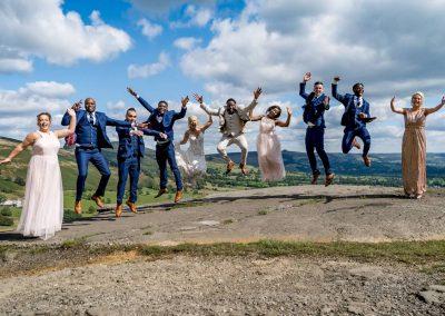 YFFUK Phil Endicott Mwasuku Mam Tor Peak District Castleton bridal party all jumping at the same time