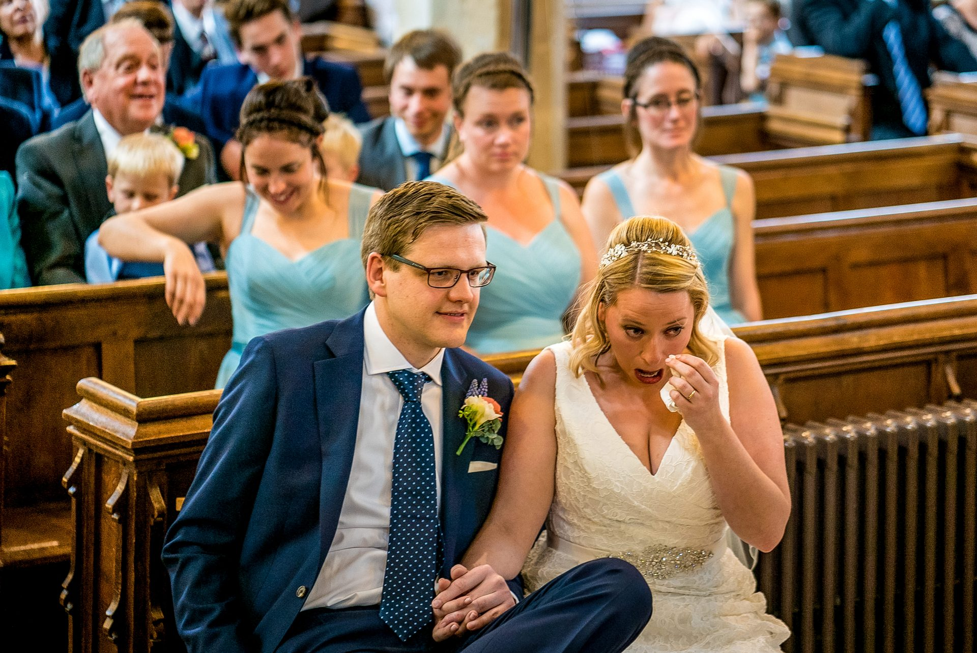 YFFUK Phil Endicott Newell St Mary Church Rushden Northamptonshire bride wiping away a tear during reading