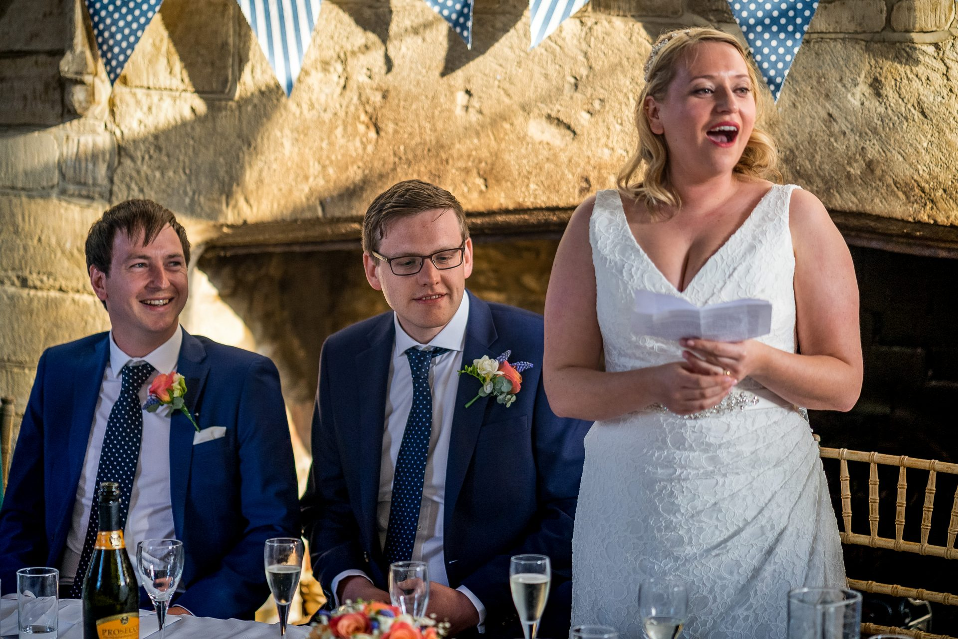 YFFUK Phil Endicott Newell The Bede House Higham Ferrers Northamptonshire groom reacting to his brides speech
