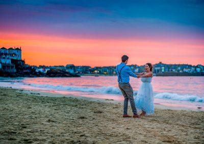 YFFUK Phil Endicott Pinto Porthminster Point Tregenna Castle St Ives bride groom dancing on the beach