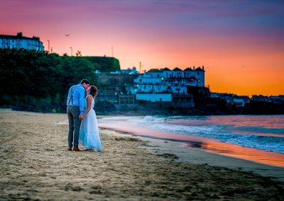 YFFUK Phil Endicott Pinto Porthminster Point Tregenna Castle St Ives couple kissing under the setting sun sunset golden sky
