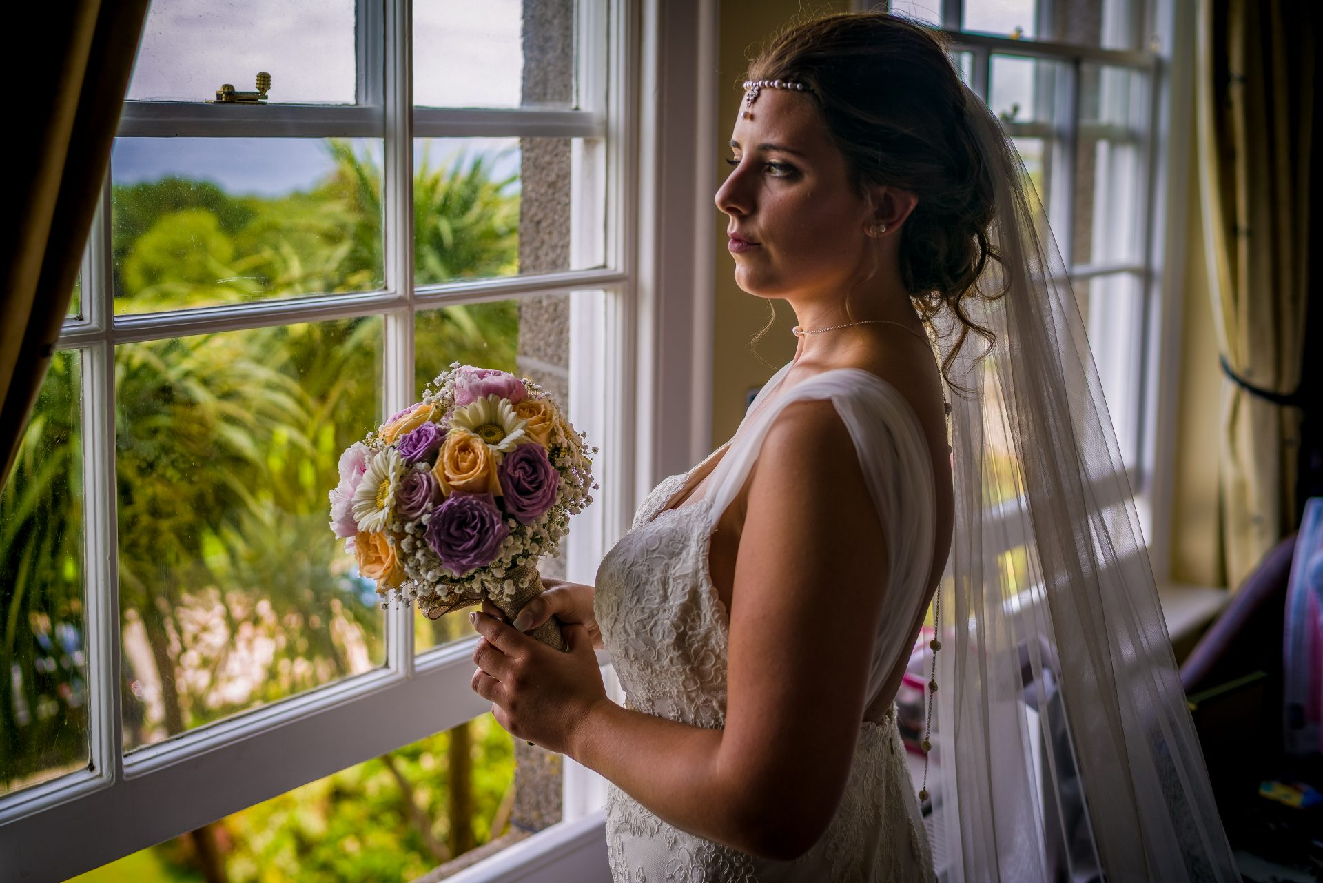YFFUK Phil Endicott Pinto Tregenna Castle St Ives bride at the window ready for the wedding