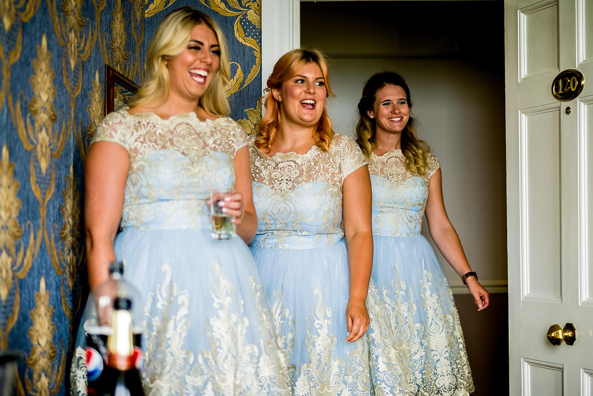 YFFUK Phil Endicott Pinto Tregenna Castle St Ives bridesmaids reacting to the brides dress
