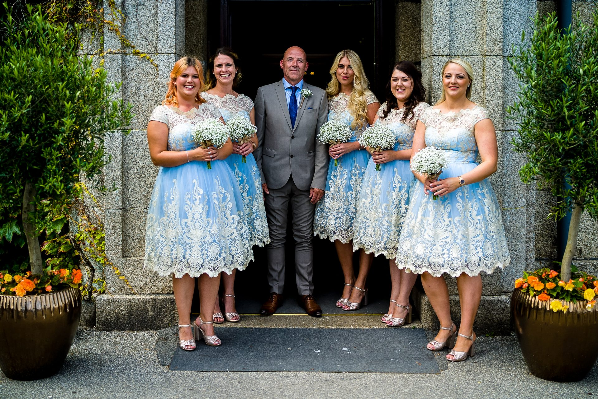 YFFUK Phil Endicott Pinto Tregenna Castle St Ives bridesmaids with father of the bride
