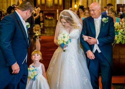YFFUK Phil Endicott Walker Newbold on Avon St Botolphs Church bride arrives to her groom their daughter looking lovingly at her father
