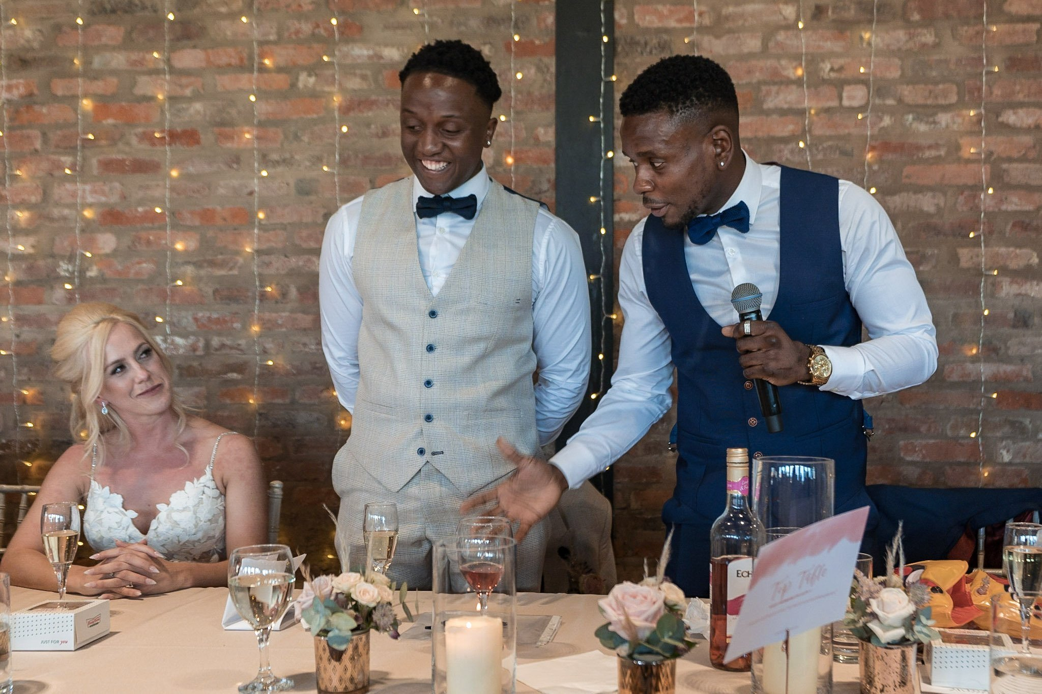 Your Favourite Frame YFFUK Mwasuku Norton Fields Atherstone best man doing his speech and getting a coy look from the bride