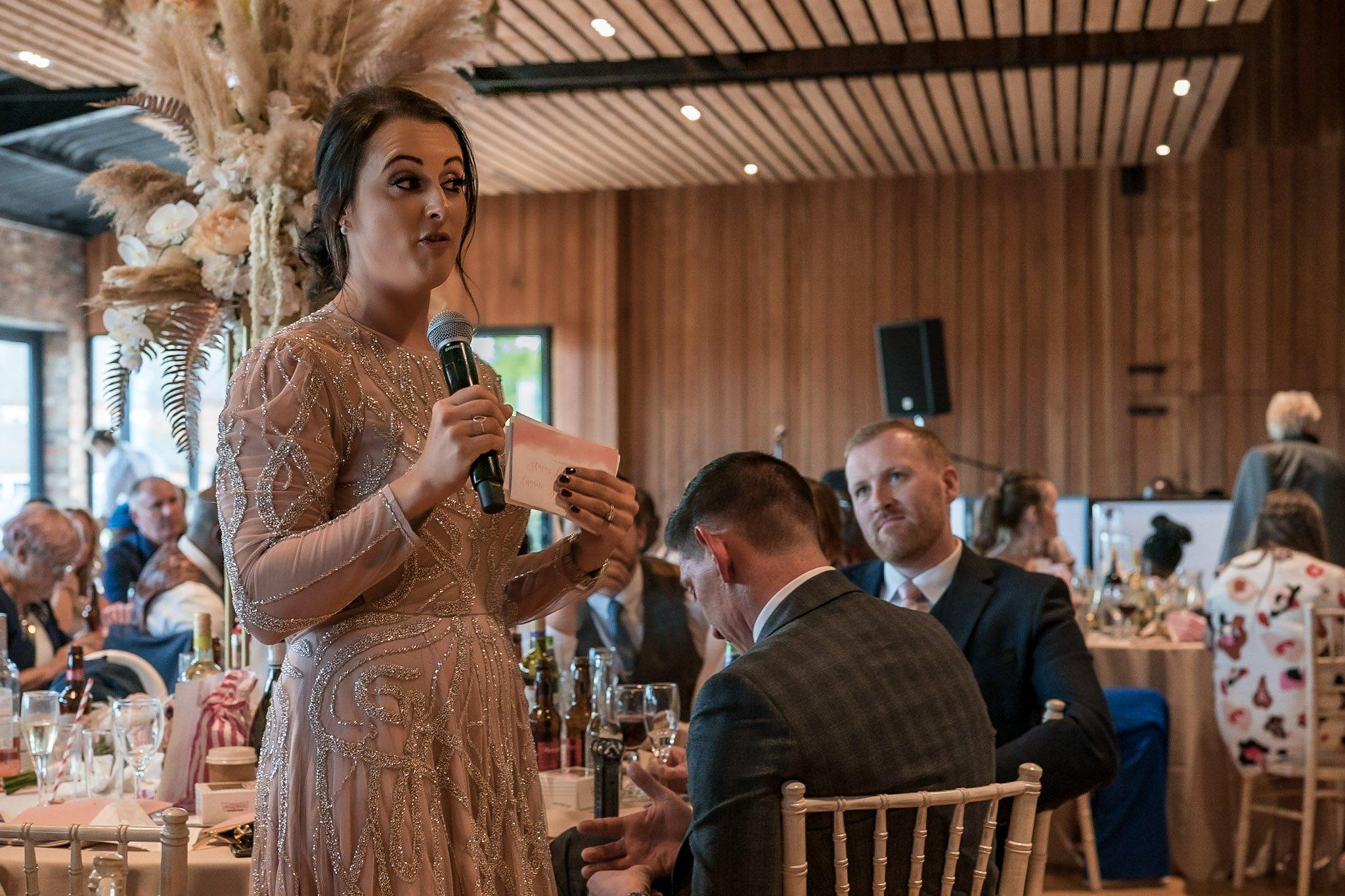 Your Favourite Frame YFFUK Mwasuku Norton Fields Atherstone head bridesmaid doing her speech