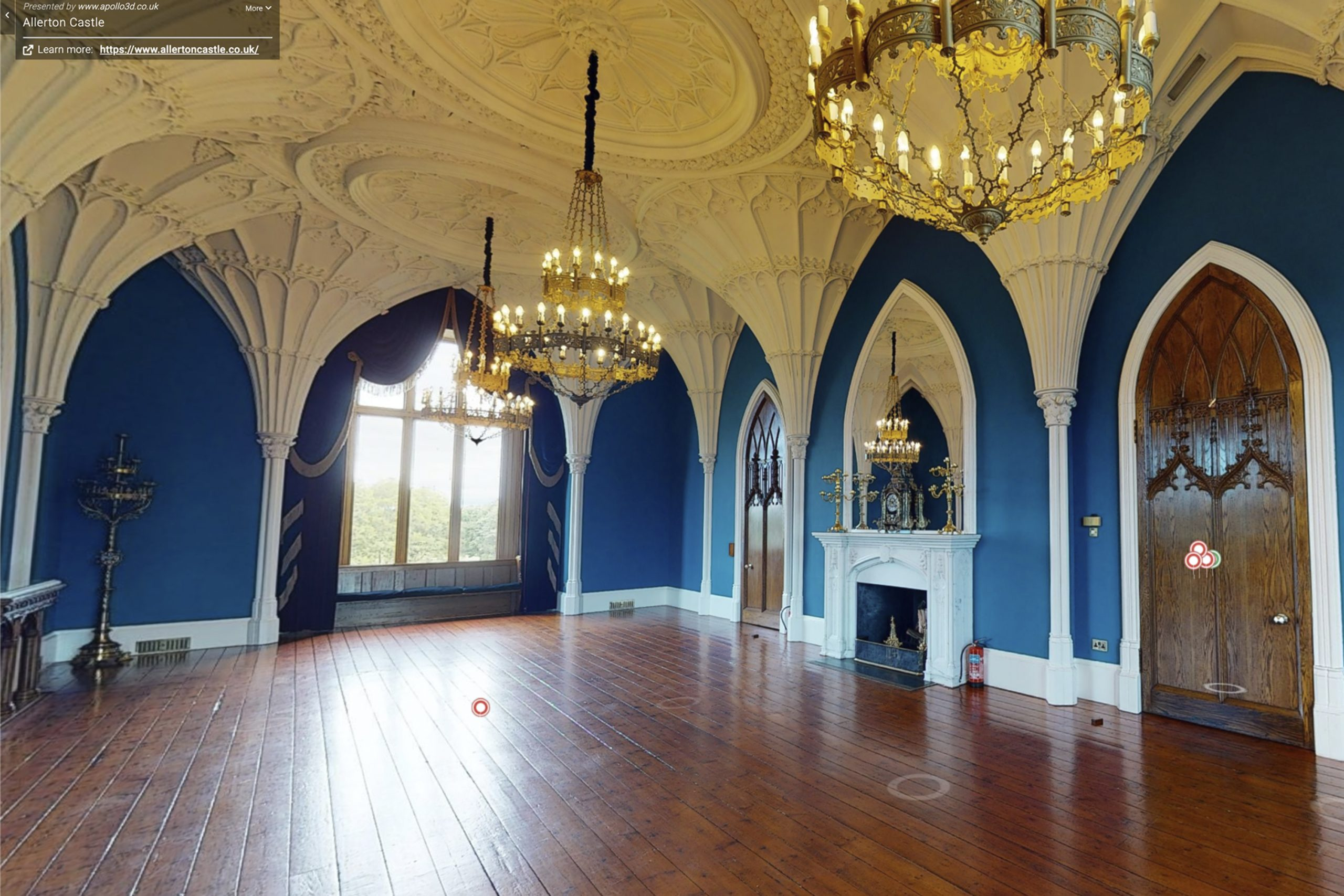 YFFUK Your Favourite Wedding PHotography Allerton Castle 3d tour ballroom for wedding breakfast