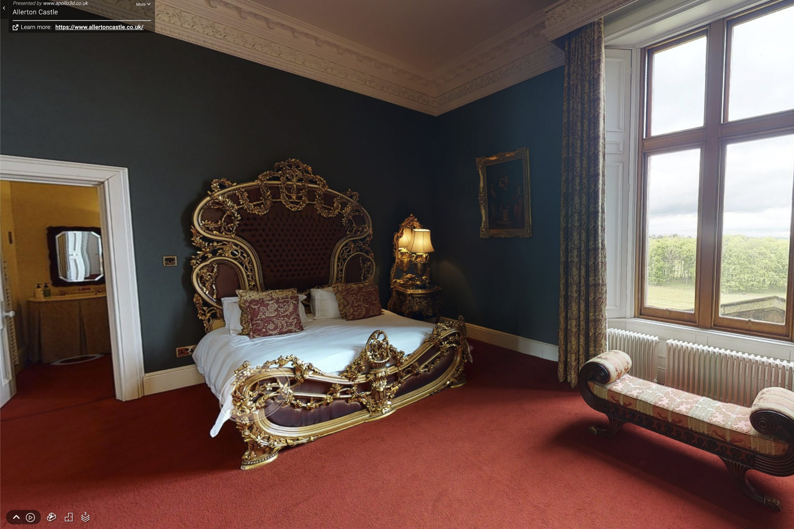 YFFUK Your Favourite Wedding PHotography Allerton Castle 3d tour bridal suite for morning preparations