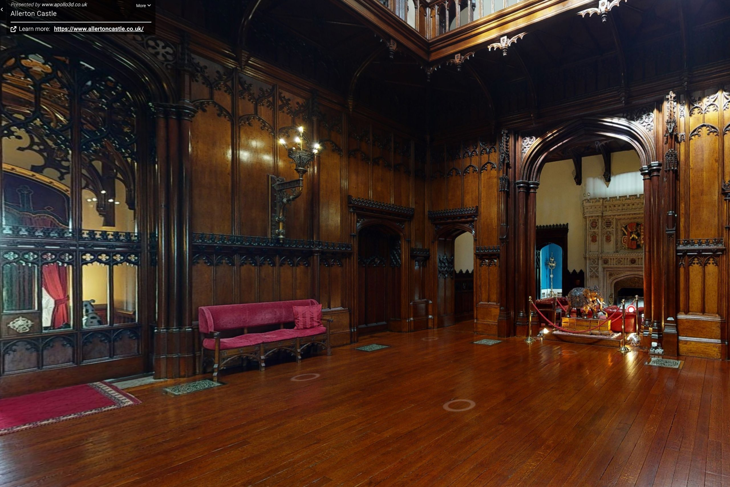 YFFUK Your Favourite Wedding PHotography Allerton Castle 3d tour main hall showing staircase