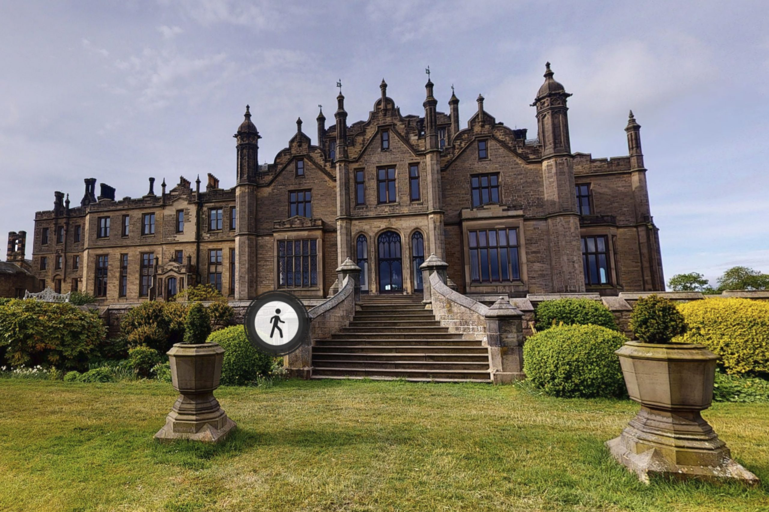 YFFUK Your Favourite Wedding PHotography Allerton Castle 3d tour rear view of the castle and steps