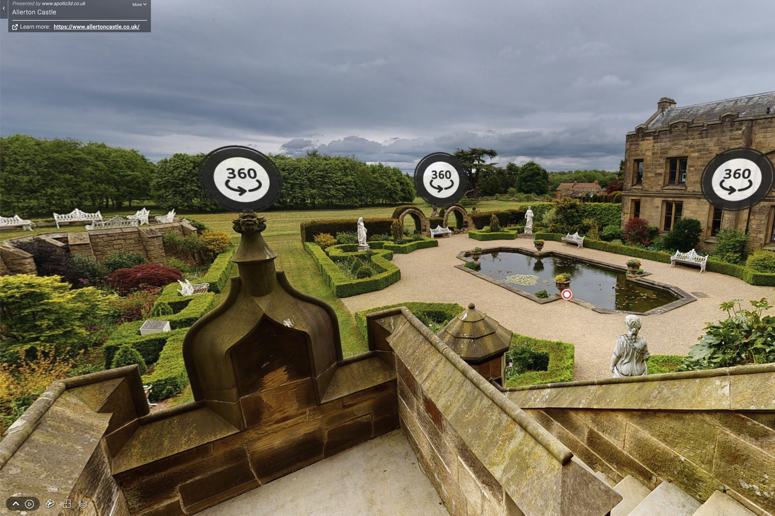 YFFUK Your Favourite Wedding PHotography Allerton Castle 3d tour view of the memorial garden and reflecting pool