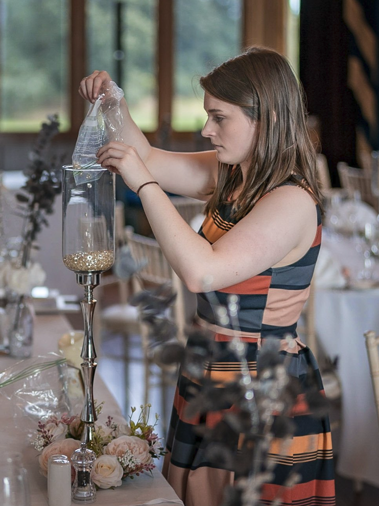YFFUK Your Favourite Wedding Photography Allerton Castle venue coordinator Libby Cox putting the final touches 1002