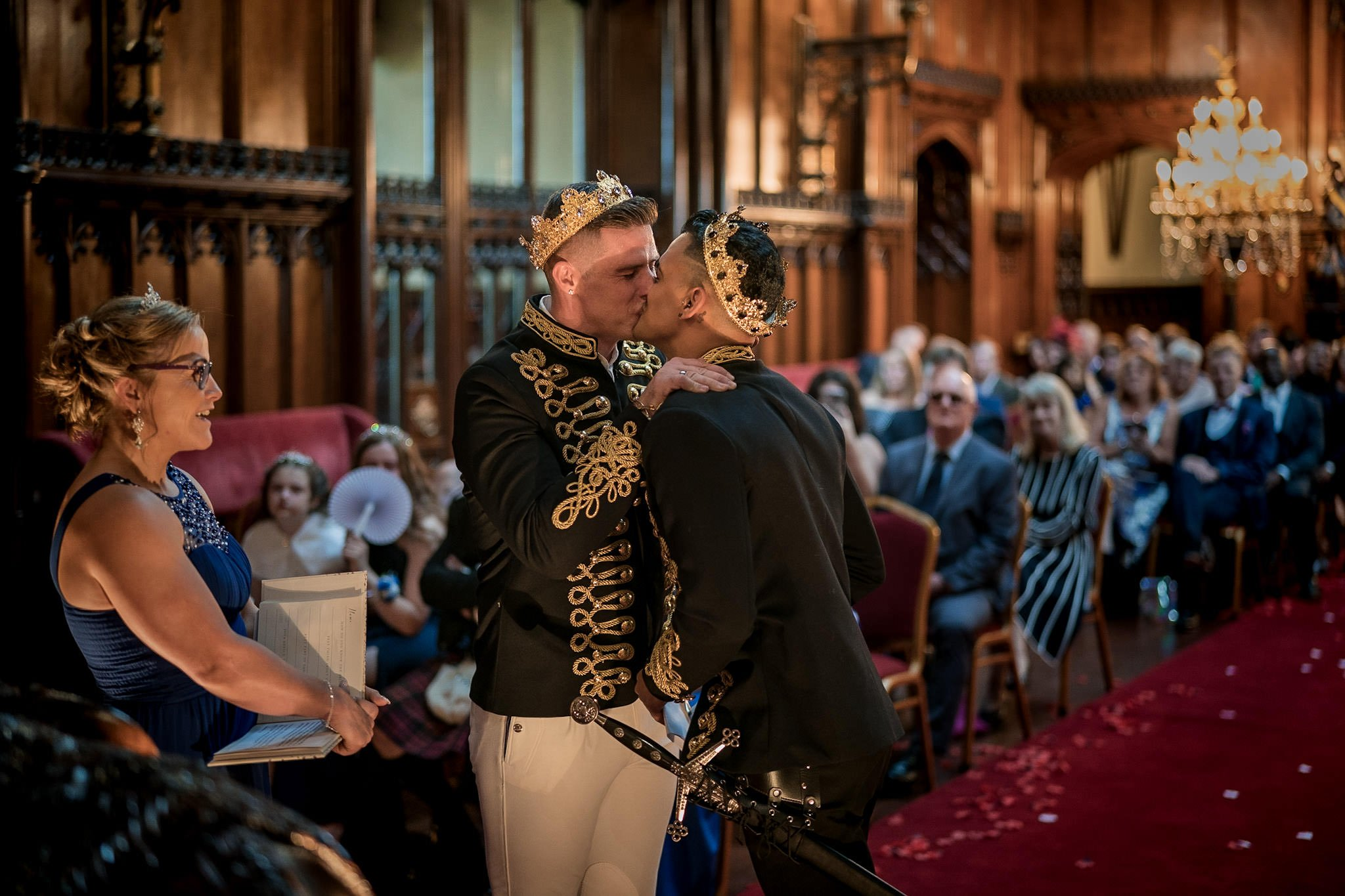 Allerton Castle Knaresborough Hutchinson Weddings Photography first kiss as husband and husband great hall