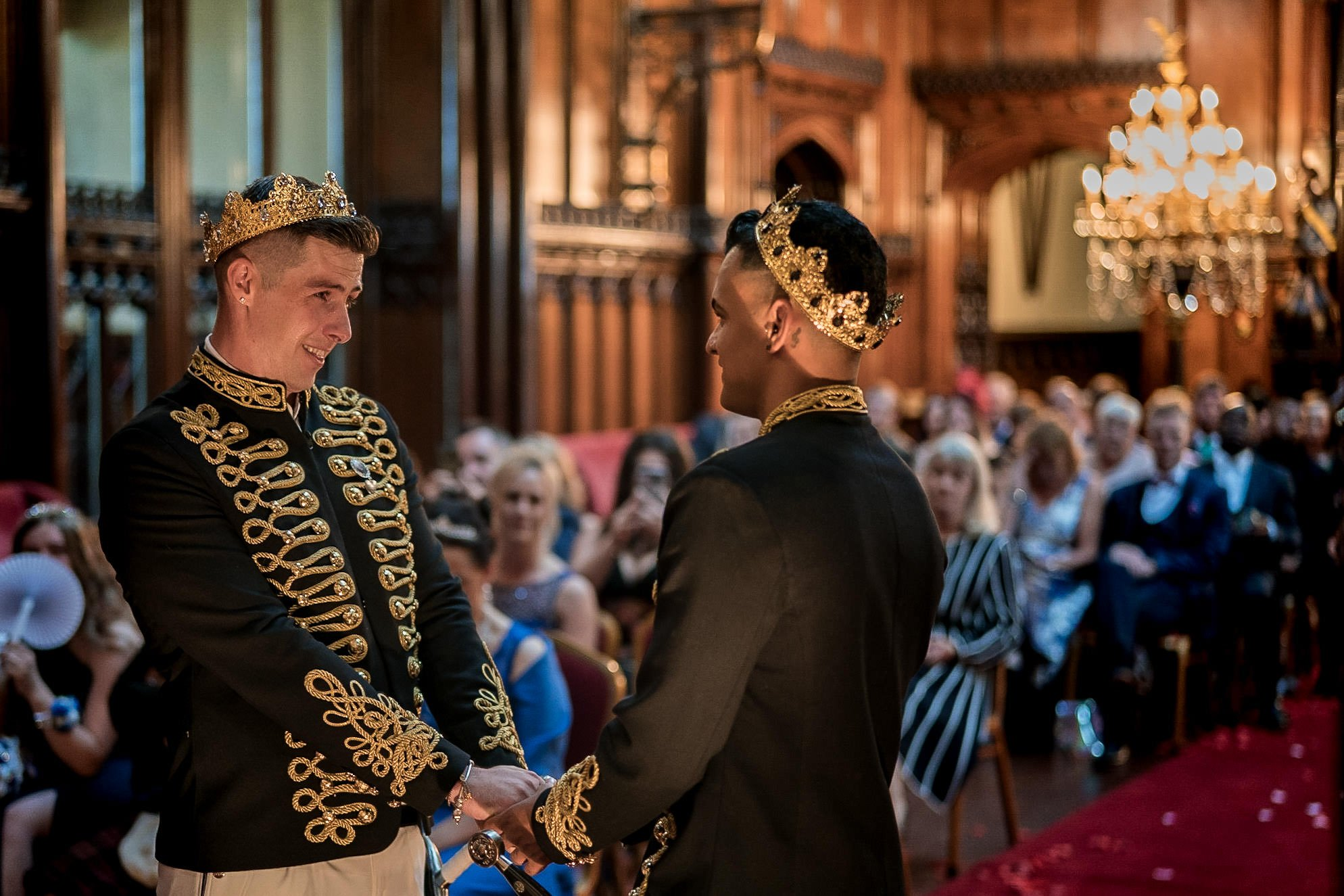 Allerton Castle Knaresborough Hutchinson Weddings Photography groom and groom holding hands while they tell each other why they love them personalised vows