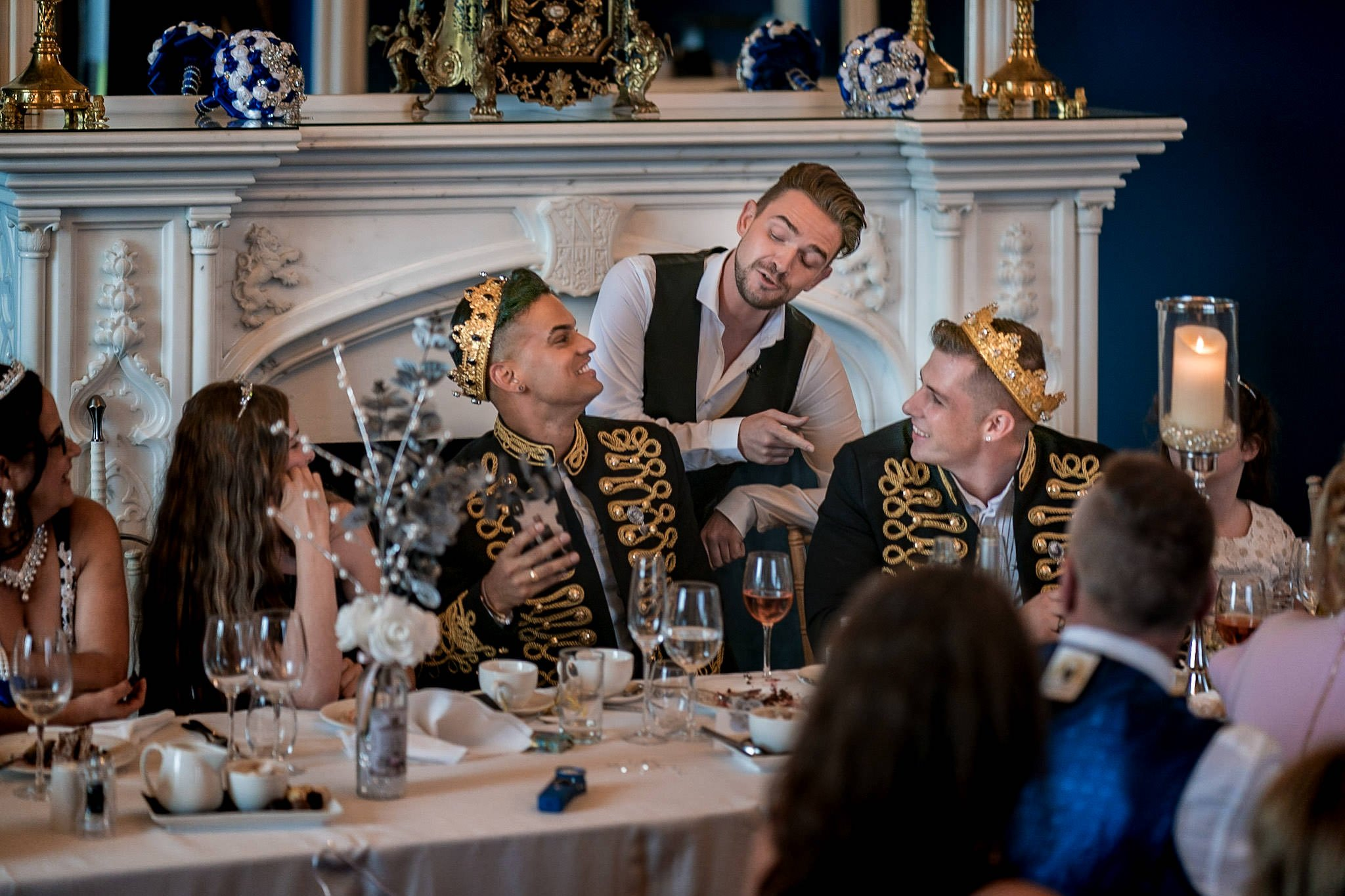 Allerton Castle Knaresborough Hutchinson Weddings Photography groom and husband being sung to by the singing waiter