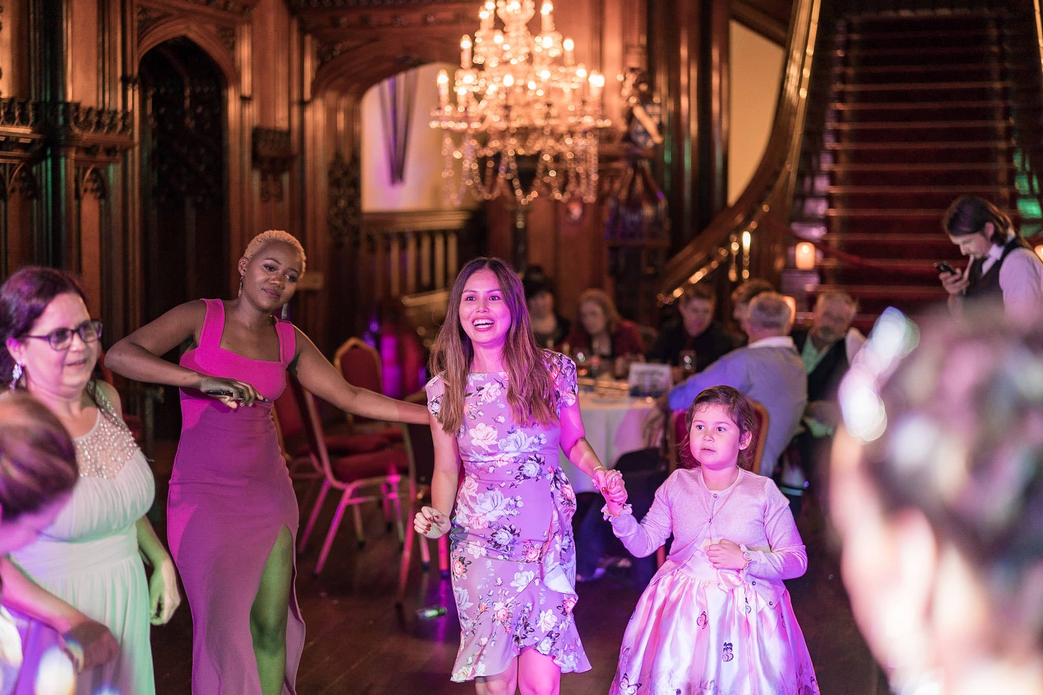 Allerton Castle Knaresborough Hutchinson Weddings Photography guests on the dancefloor