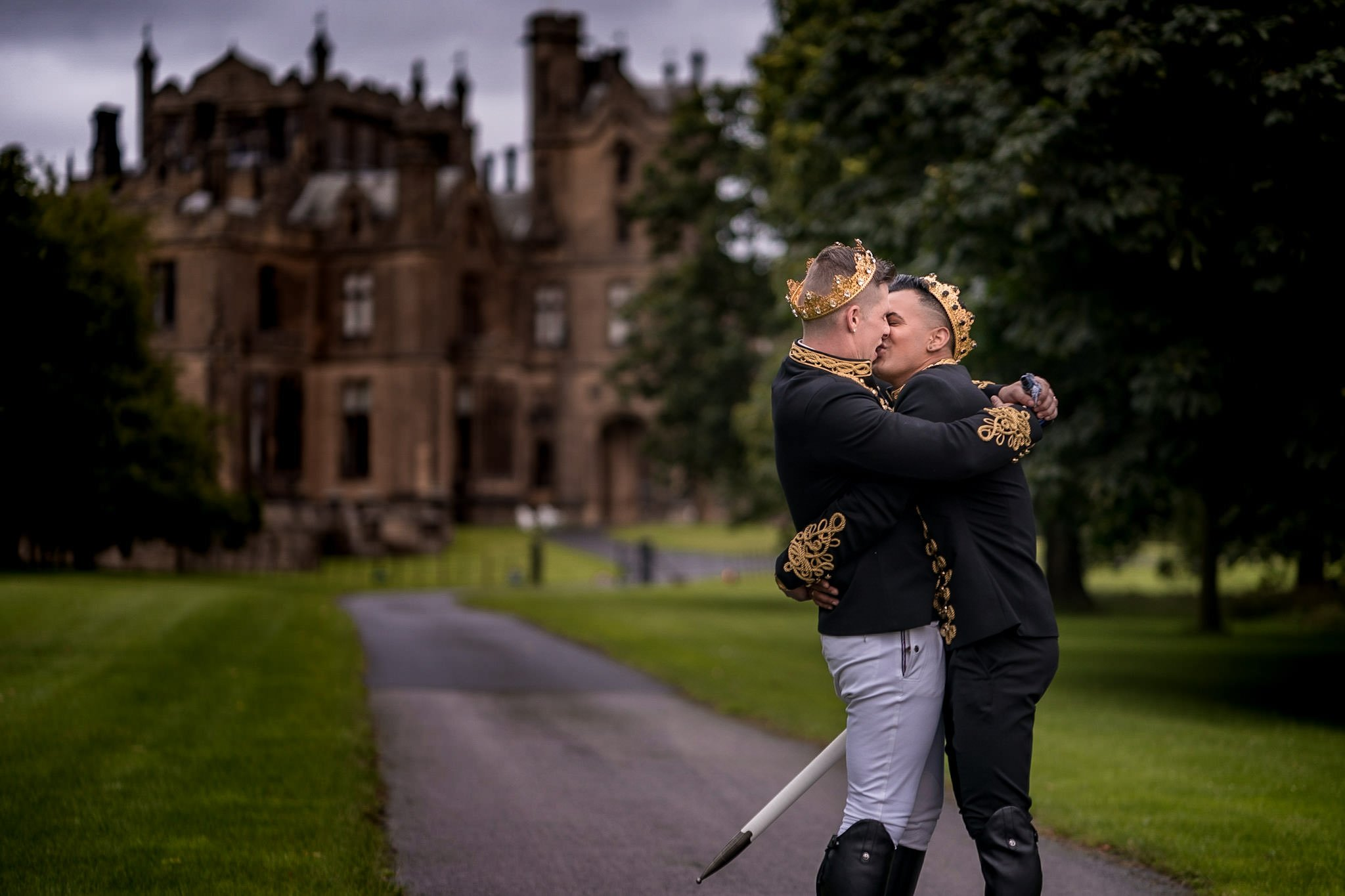 Allerton Castle Knaresborough Hutchinson Weddings Photography kisses on the driveway in front of the castle