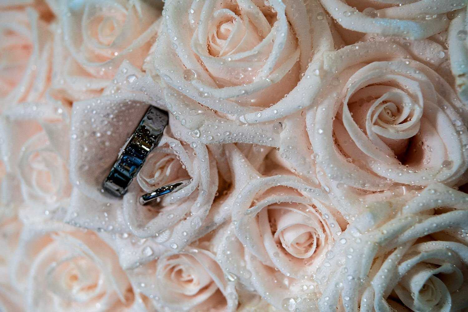 Foxton Lock Lodges Lockwood Weddings Photography wedding rings nesstled within the bridal bouquet pink natural roses with water beads