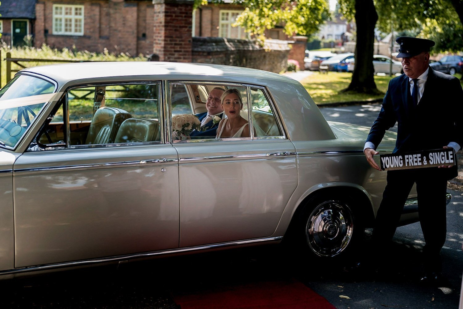 Great Bowden Parish Church Lockwood Weddings Photography bride and father waiting in the wedding car before her wedding ceremony