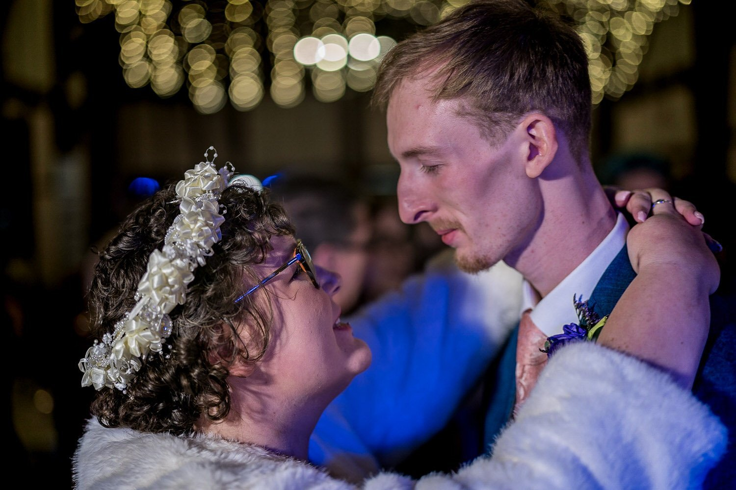 The Barns Hotel Bedford Wooten Weddings Photography Bride and groom during first dance arm in arm