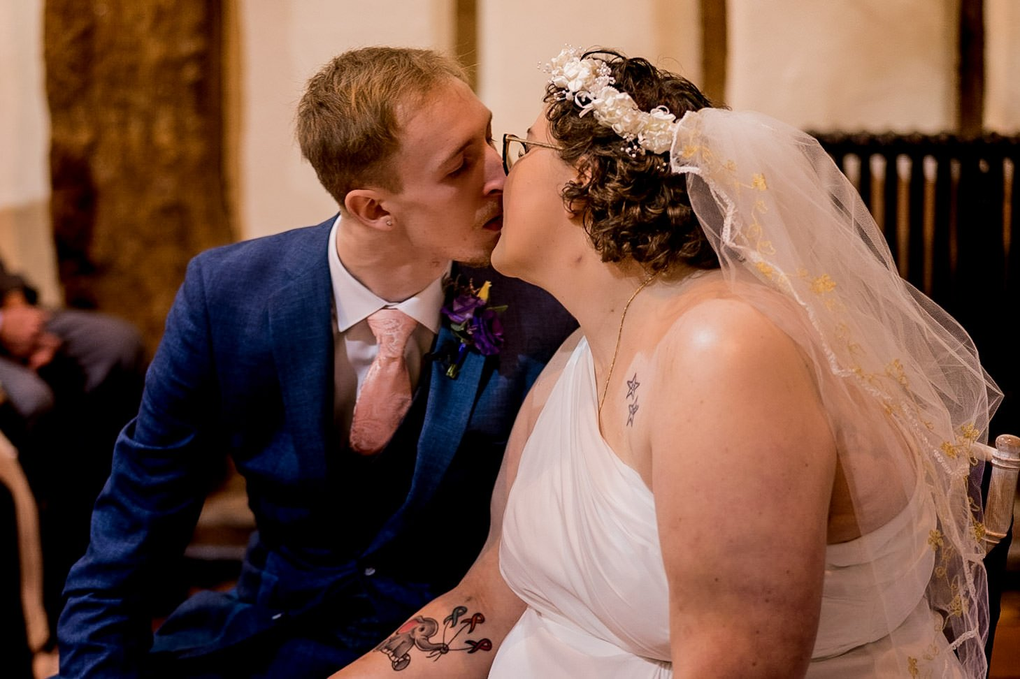 The Barns Hotel Bedford Wooten Weddings Photography Bride and groom having their first kiss together