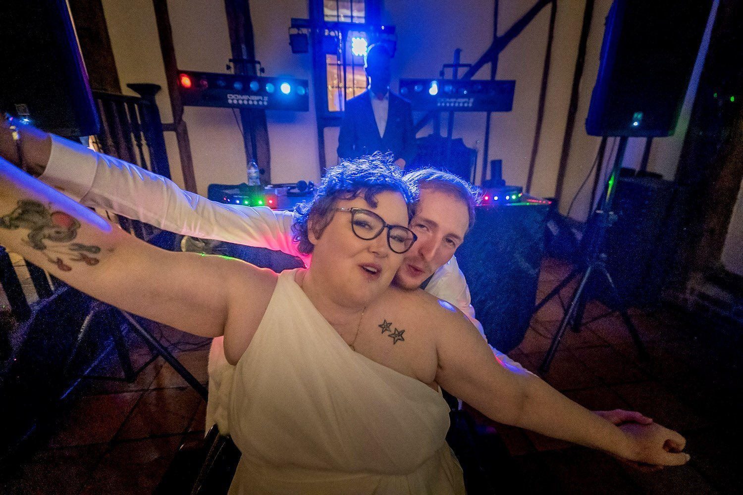 The Barns Hotel Bedford Wooten Weddings Photography Bride and groom on the dancefloor singing at each other