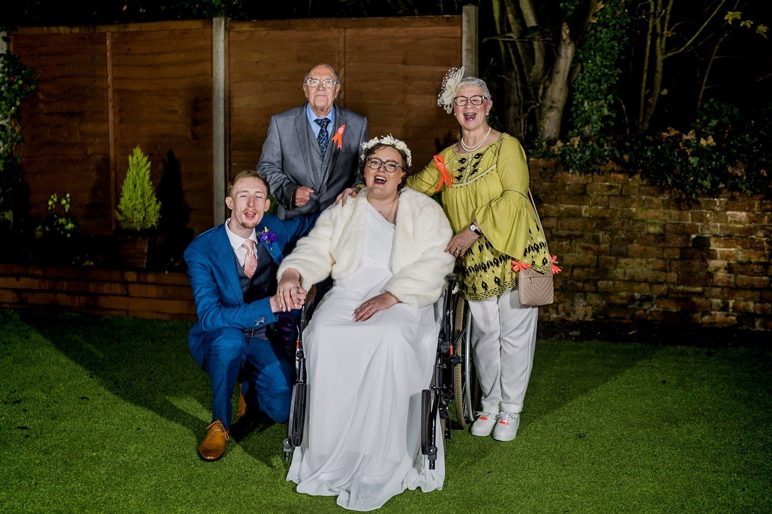 The Barns Hotel Bedford Wooten Weddings Photography Bride and groom with her grandparents