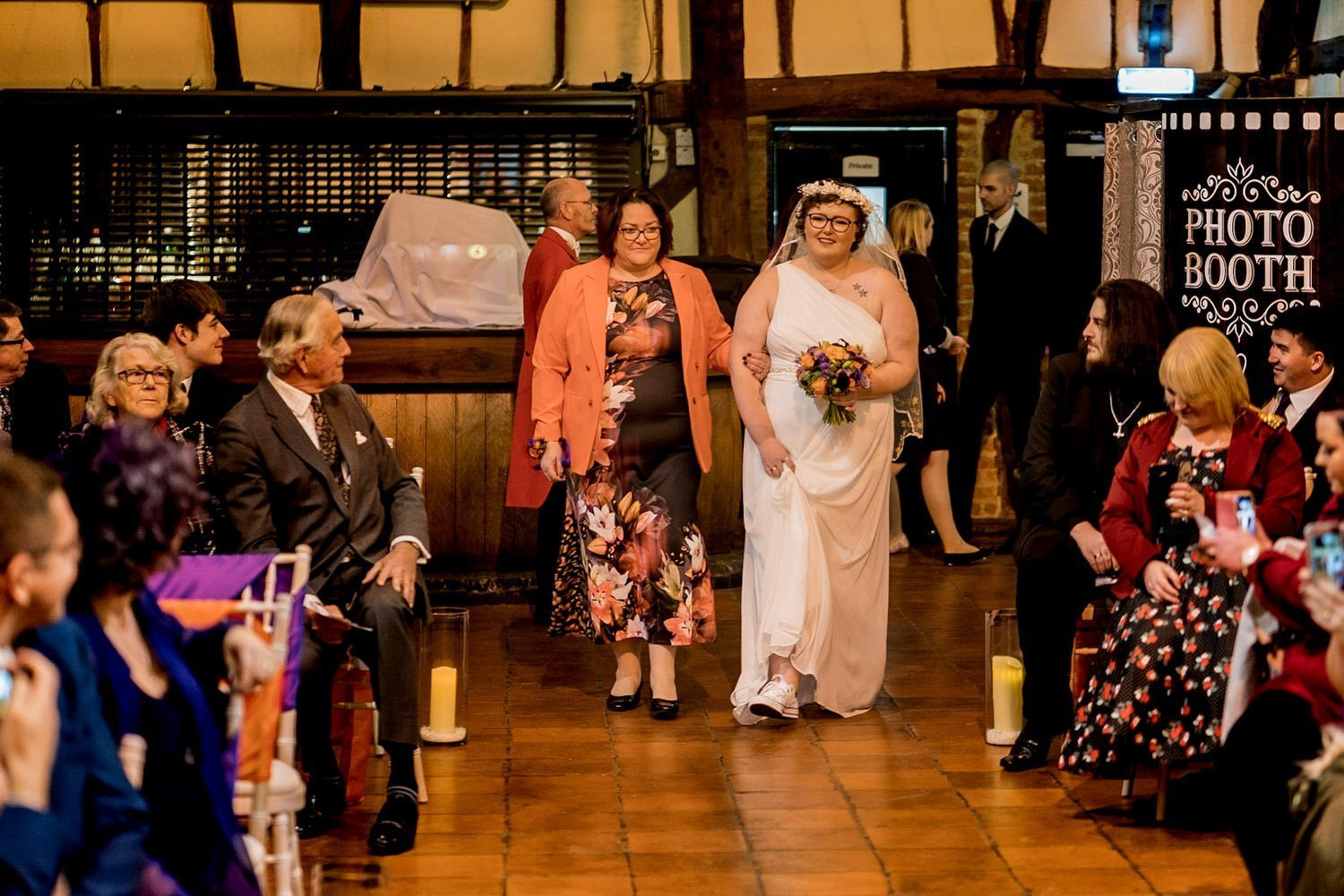 The Barns Hotel Bedford Wooten Weddings Photography Bride walking down the aisle with her mum by her side holding her arm