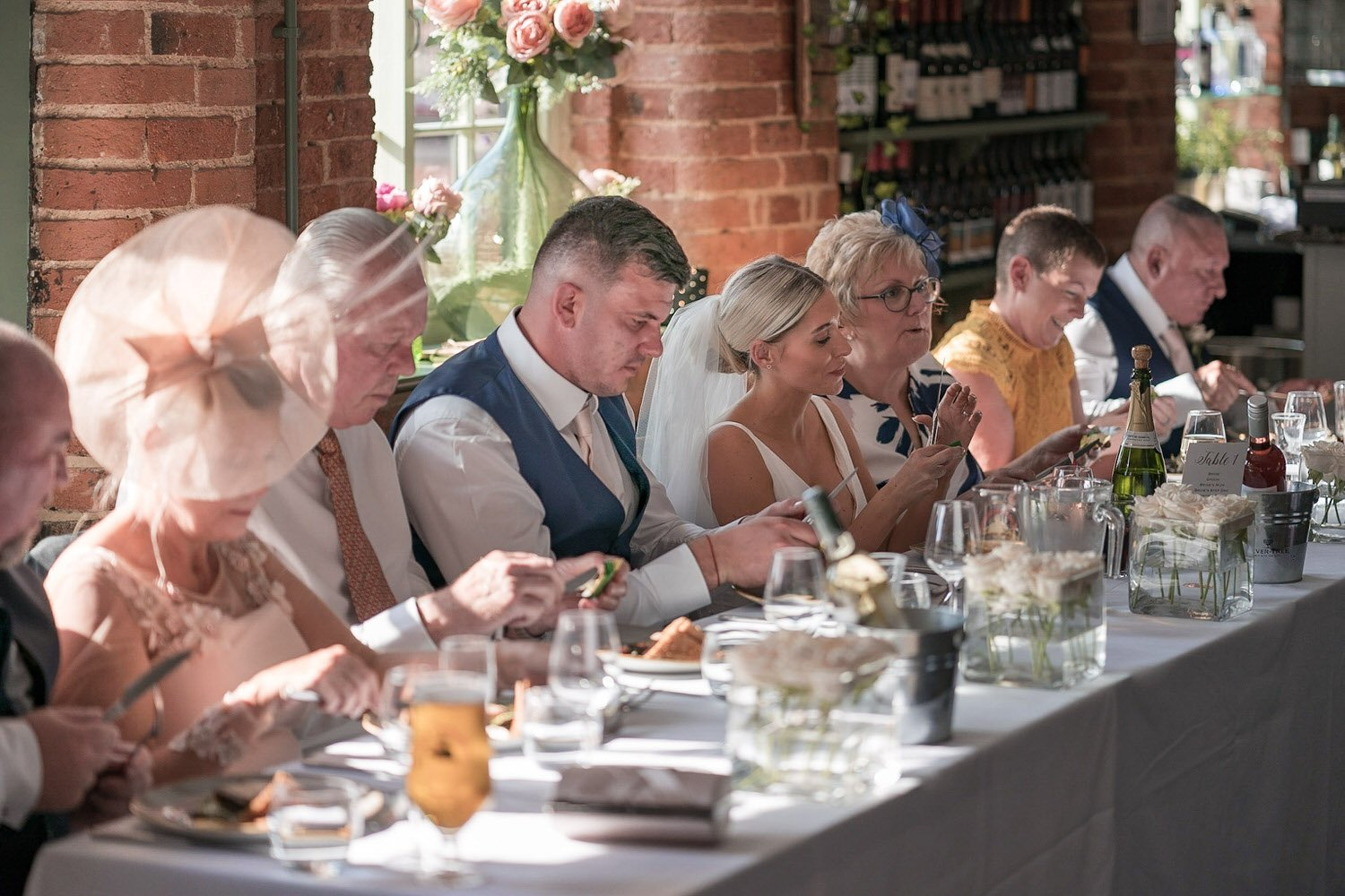 The Waterfront Market Harborough Weddings Photography wedding breakfast view of top table